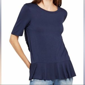 BCBGeneration Navy Ruffle Back Tee